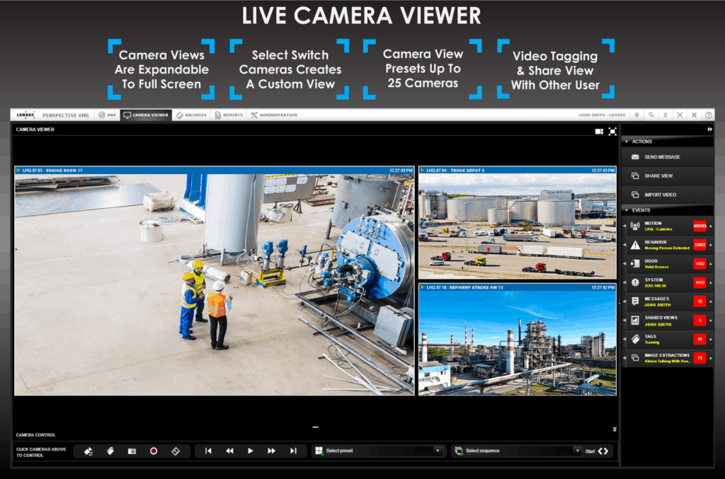 Perspective VMS™ Live Camera Viewer Features